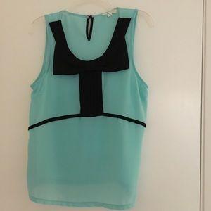Iris turquoise black sheer sleeveless bow blouse L